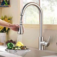 Rozin escovado níquel cozinha torneira Único buraco puxar para fora bico de cozinha piaeira mixer tap stream pulverizador cabeça cromo / preto mixer tap 210903