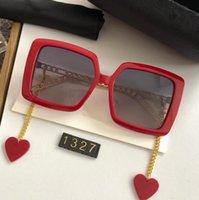 Neueste Mode Sonnenbrille Frauen Online Celebrity Style Einstellbare Kette Designer Square Beach Sonnenbrille mit Kasten