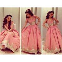 2015 Middle East Evening Dresses Sweetheart Neckline Golden Appliques A Line Cap Sleeve Floor-Length Evening Gowns Dhyz 01