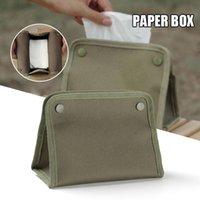 Outdoor Bags Canvas Tissue Box Slitstarka Snap Design Stor kapacitet Fällbar bärbar ansikts arrangör för camping