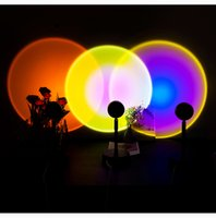 Sunset Rainbow Projector Night Lights Usb Bedside Table Lamp Valentines Day Gift Lamps Bedroom Bar Coffee LED Atmosphere Light
