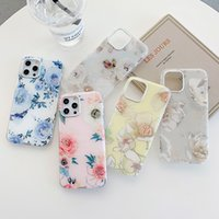 Casos de telefone tpu suave de luxo de luxo duplo para iphone 12 11 pro max xr xs 8 7 mais mulheres elegantes senhora menina flor telecelação capa