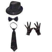Adultos niños niños lentejuelas jazz sombrero arco corbata guantes traje disfraces de lujo cumpleaños desempeño danza espectáculo fiesta favores boda propuesto