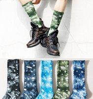 New Fashion Men and Women Socks Cotton Colorful Star Alien Tie-dye Harajuku Street HipHop Skateboard Happy Funny Weed Tube Socks