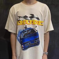 Rhude American Tide 개인화 된 레이싱 편지 인쇄 짧은 소매 하이 스트리트 트렌드 힙합 느슨한 캐주얼 커플 티셔츠