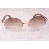 Lunettes de soleil rétro de mode ronde haut de gamme 8100903 Jambes de miroir en bois à carreaux naturels Les meilleures lunettes de qualité Taille: 58-18-135mm