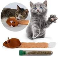 Cat Toys Promotion! Cute Long Tail Mouse Teaster Pet Trainning Playing Interactive Toy With Catnip Brown