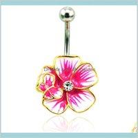 Çan Moda Altın Kaplama Göbek Düğme Paslanmaz Çelik Halter Gül Emaye Çiçek Göbek Yüzükler Vücut Piercing Takı Bırak Teslimat 2021