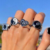 Fashion trend copper love flame black white yin yang No. 8 number lucky spades punk ring gift swap party with box