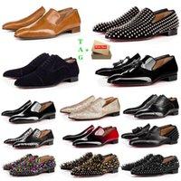 망 붉은 하단 신발 디자이너 낮은 평평한 리벳 자수 남자 비즈니스 연회 드레스 신발 Luxurys 특허 스웨이드 스타일리스트 스파이크 정품