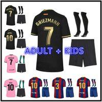 Maillot Foot Barca Jersey 20 21 22 Camiseta Futbol Ansu Fati 2021 2022 Messi Griezmann F. de Jong Camisa de futebol Men Kids com meias tops uniformes conjuntos