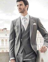 Moda cinza italiano elegante noivo noivo groomsmen vestidos melhor homem homens homens casamento homens ternos 3 peças (jaqueta + calça + colete + gravata) 1