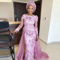 Aso Ebi Evening Dresses With Detachable Train Illusion Long Sleeves Prom Gowns Mermaid Lace Appliques African robe de soiree