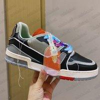 2021SS Tasarımcı Erkek Trainer Sneaker Trail Dalfskin Deri Ayakkabı Erkekler Için Lüks Vintage Koşucu Eğitmenler Mans Flats Paten Kauçuk Outsole Gösterisi Casual Ayakkabı
