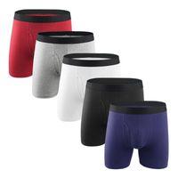 Sous-robe 5pcs / Lot Hommes Boxers Boxers Longues Sous-vêtements pour hommes Cotton mâle BoxersHortes Loose Sous Wear Plus Taille Boxer Homme