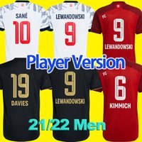 Jerseys de futebol de versão do jogador 21/22 # 9 Lewandowski Muller Home Red Soccer Jersey 2021 2022 # 11Coman # 6kimmich fora de camisa de futebol preto # 10 Sane # 7gnabry 3rd uniforme