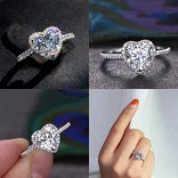 Victoria Wieck Klasik Lüks Takı 925 Ayar Gümüş Armut Kesim Beyaz Topaz CZ Elmas Promise Eternity Düğün Kalp Yüzük Kadın 41 N2 IEBW 05ud