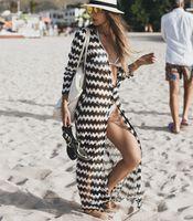 Cubiertas de bikini de verano Mujeres Larga Zebra Playa a rayas Prevenir Cardigan Traje de baño Tobillo Longitud de gasa Guardias Rash CANGA SAIGA DE PLAYA