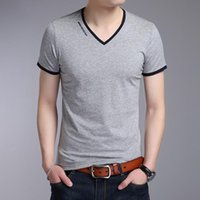 Factory33JE Slim Casual Summer Fit V-neck Short Sleeve Cotton Men T-shirts Korean Style Solid Color T Shirt M-4XL Tops Tee