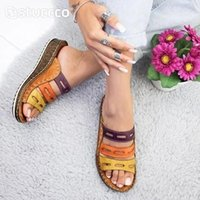 Women Summer Stitching Sandals Casual Slip On Open Toe Rome Retro Leather Platform Wedge Slides Beach Shoes Ladies