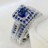 Wedding Rings Fashion Luxury Blue Square Crystal Bridal Set For Women Silver Color Engagement Finger Ring Christmas Gift Jewelry