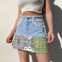 Vintage Stampa a strisce Palid Palide Patched Mini Gonne Mini Gonne per le donne Estate Moda Coreana A-Line Denim SAIA 210518