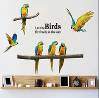 Creative Bird Parrot Self-adhesive Wall Stickers Personality Bedroom Cabinet Decoration Art Living Room Study