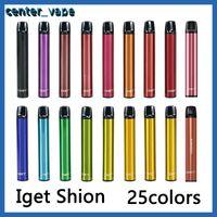100%Original Iget Shion disposable cigarettes Pod Device Kit 600ff 400mAh 2.4ml Portable Vape Stick Pen Bar Plus XXL Max Authentic