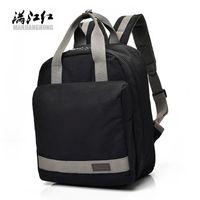 Backpack Manjianghong Multifunction Schoolbags Retro Black Canvas Rugzak Women School Bag For Girl Packbag Mochila Lona Hombre