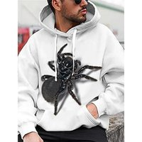 Spider pattern Fierce 3D printing hoodie visual impact party top punk goth round neck high quality American sweater hoodie