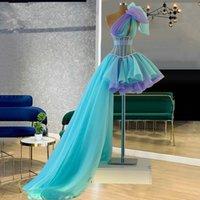 Elegant One Shoulder Short Prom Party Dresses 2021 Two Colors Hi Low Style Plus Size Formal Cocktail Evening Occasion Gowns Vestidos De Novia