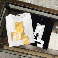 Летний мужской дизайнер футболка мода простой чистый хлопчатобумажный золотой тиснение процессы буквы экипажа шеи одежда повседневная высококачественная буква вышивка очень большой размер m-3xl