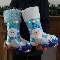 밝게 빛나는 크리스마스 양말 장식 파란색 빛나는 장식 양말 크리스마스 큰 선물 가방 크리스마스 트리 펜던트 장식 펜던트 G78Lua9