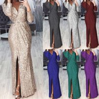 Lady's dress designer Women's Long New Evening Deep V-neck Glittering Dinner Sexy