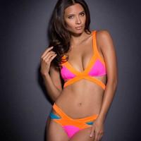 Swimsuit Hot Sexy Spell Cor Strap Biquini Bikini Multicolor Mosaico Neoprene Agente Provocateur