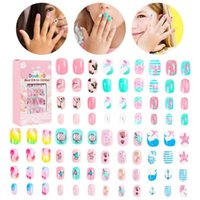 False Nails Children Candy Nail Decoration Tips Cartoon Full Cover Kid Pink Fake Art For Little Girls Manicure Tool 84Pcs Set