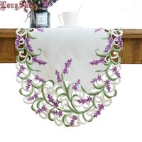 Home Decorative Beige Color Handmade Satin Cutwork Embroidered TV Stand Cabinet Cover Creative Lavender Lilac Oval Table Runner