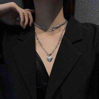 Korean double-layer titanium steel love necklace women's clavicle fashion hip-hop sweater chain accessories