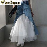 Pist Kadınlar Uzun Maxi Jeans Tutu Tül Splice Yüksek Kaliteli Örgü Balo Moda Tasarımcısı Lüks Denim Etek 2021 Etekler