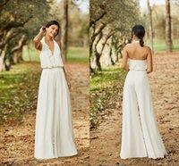 Bohemian Wedding Jumpsuit Halter Chiffon Ankle Length Simple Beach Wedding Dress Pants Suit Summer Robes De Mariée