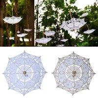 2021 Boda de encaje paraguas bordado bordado nupcial blanco beige parasol sol para la decoración fotografía