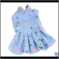 Apparel Supplies Home & Gardenprincess Dress Jeans Dog Costume Floral Clothing For Small Medium Dogs Puppy Outfit Denim Pet Wedding Dresses