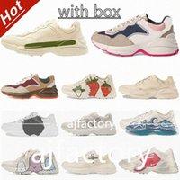 2021 lussurys rhyton vintage sneakers da uomo da uomo scarpe casual oversize scarpe classiche in pelle bianca in pelle bianca spessa soglio da uomo da papà scarpa
