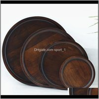 Dishes Plates Dinnerware Kitchen, Dining Bar Home & Garden Drop Delivery 2021 Breakfast Bread Round Solid Wooden Dessert Tray Plate Pizza Cup