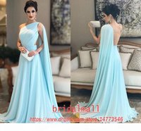 2020 Modest One Shoulder Blue Chiffon Prom dresses robe de soiree Arabic Evening Dress Wear vestidos de fiesta long formal dress party gowns