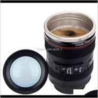 Cámara de acero inoxidable creativa lente con forma de café taza de taza taza taza de viaje matrones de vacío con tapa año regalos drinkware rk687 fywco