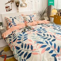 Four cotton quilt cover three piece spring and autumn sheet bedding set 4NL1Q