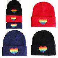 Colorful amour coeur tricoter beanie hip hop broderie homme femme épaississement casquette soft hiver capot confortable 6 3LH n2