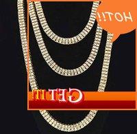 18K позолоченные ожеревенные ожерелья на багете 2 ряда алмазы Hiphop Теннисная цепь хип-хоп ювелирные изделия 20 \