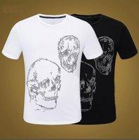 Moda esqueleto homens t-shirt pasta broca camisetas Grupo de tripulação t-shirts para homem top tees ganbu - preto / branco
